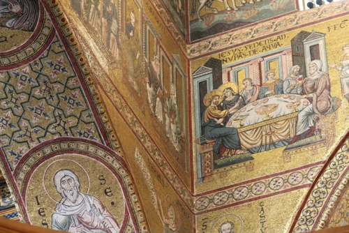 Mosaics in a corner of the Nave of the Monreale Cathedral