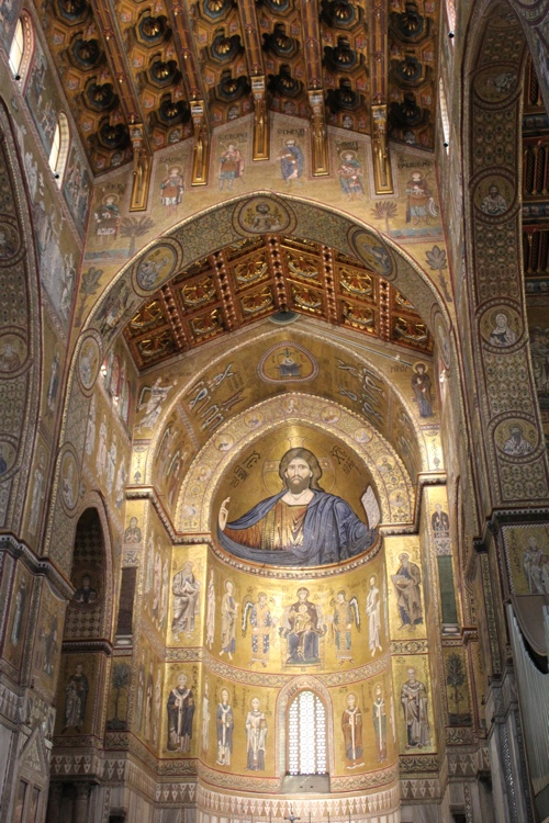 The central apse showing the ceiling detail of Monreale Cathedral