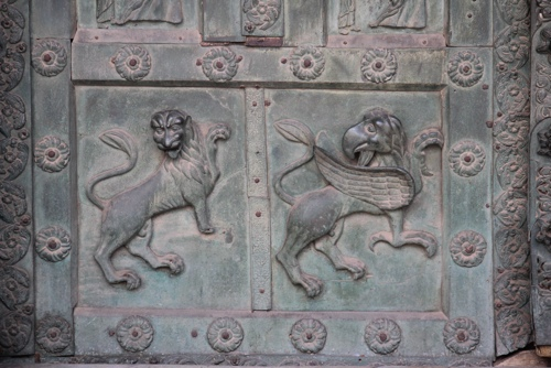 Two of the bronze panels on the doors at Monreale Cathedral