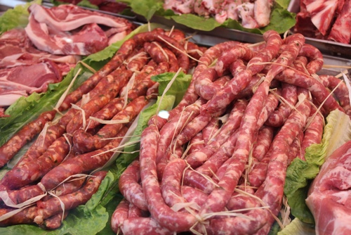 Italian sausages in Capo market, Palermo