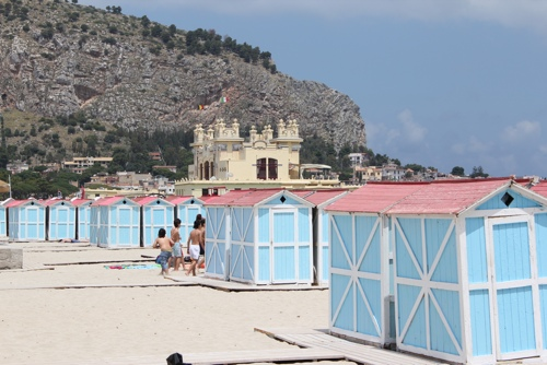 Rows of beach cabins at Mondello