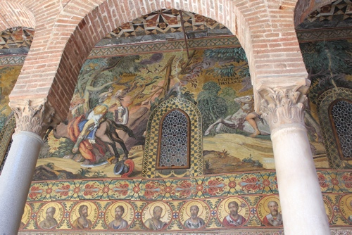 Mosaics outside the entrance to the Palatine Chapel in Palermo