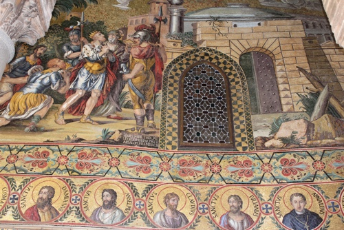 Closeup of mosaics outside the Palantine Chapel in Palermo