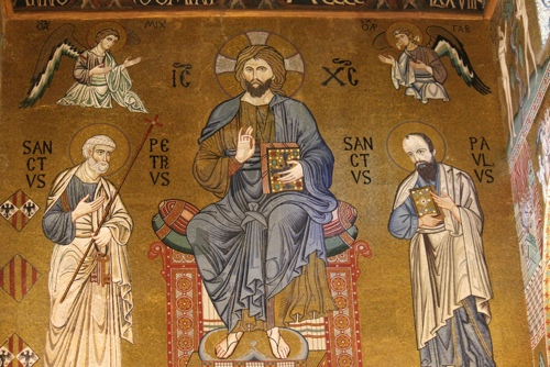 Christ with St Peter and St Paul in the Palantine Chapel in Palermo