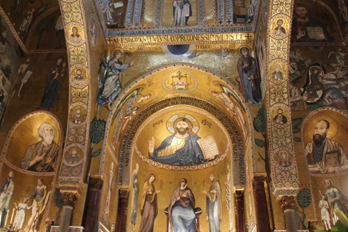 View of the main apse and side apses in the Palantine Chapel, Palermo