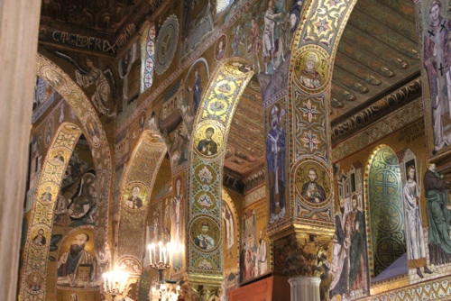 Mosaics in the nave of the Palantine Chapel in Palermo