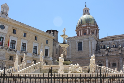 Palermo's Piazza Pretoria with the Town Hall on the left and the Dome of Santa Caterina on the right.