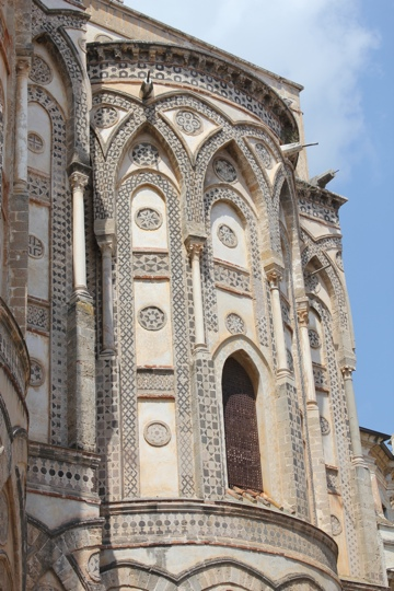 Exterior view of Monreale Cathedral from Via Del Arcivescovado