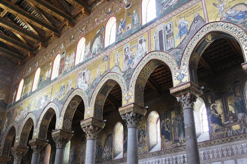 View of the mosaics in the Nave of the Monreale Cathedral