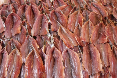 Filetted sardines in Capo Market, Palermo