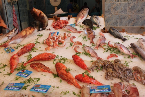 Fish display in Capo market, Palermo