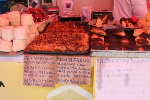 Ricotta fresca with olives, Ballaro Market in Palermo