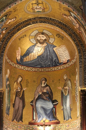 Christ the Pancrator icon in the main apse of the Palantine Chapel, Palermo