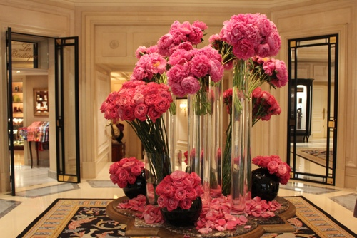 Pink peonies at the Hotel George V in Paris