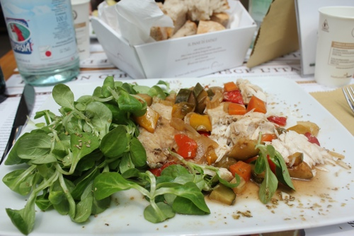 Baked fish and vegetables at Eataly in Turin