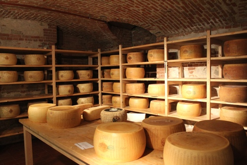 Parmesan stored in the cellar at Eataly, Turin