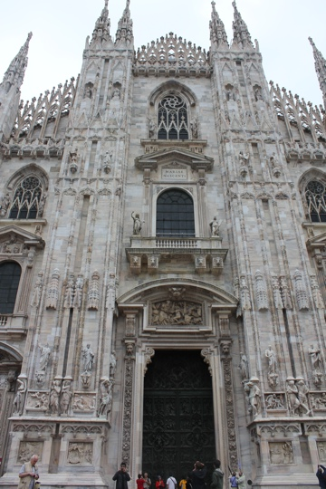 Outside the Duomo in Milan