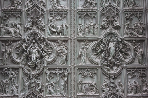 Closeup of the doors of Milan's Duomo
