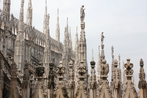 Spires on the roof of the Duomo in Milan