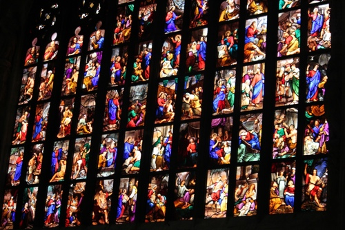 Magnificent stained glass windows in the Duomo in Milan