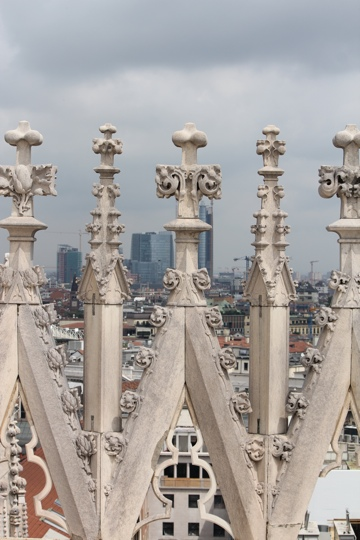 View over the rooftops from the Duomo in Milan