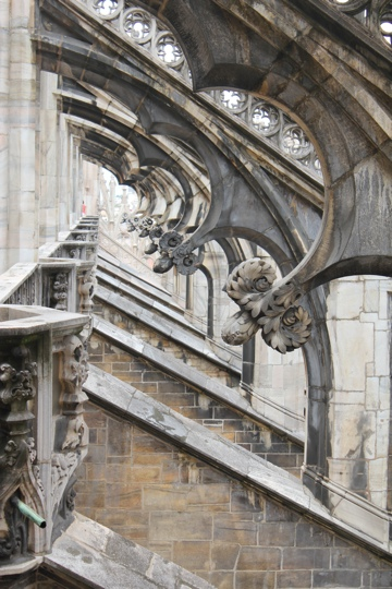View of the flying buttresses on the roof of the Duomo in Milan