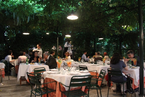 Dinner in the garden at Osteria del Binari in Milan