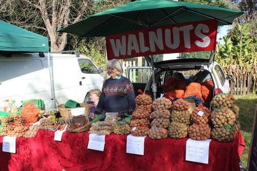 Walnut stall at Collingwood Children's Farm Market in Melbourne
