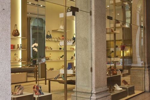 Sergio Rossi window on Via Montenapoleone in Milan