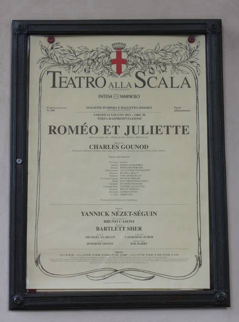 Poster advertising Romeo et Juliette at the Teatro alla Scala, Milan