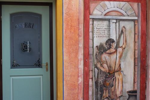 Painted wall at Osteria dei Catari in Monforte d'Alba