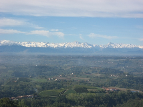 View of the snow on the mountains from Monforte d'Alba