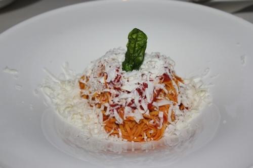 Homemade tajarin at Il Cascinalenuovo in isola d'Asti