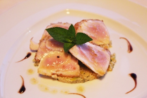 Mediterranean amberjack tataki style,with couscous and vegetables