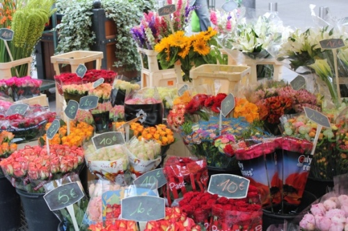 Flowers at the Rue du Marche St Honore market, Paris