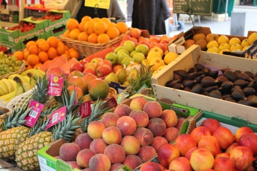 Summer fruit at the Rue du Marche St Honore market, Paris