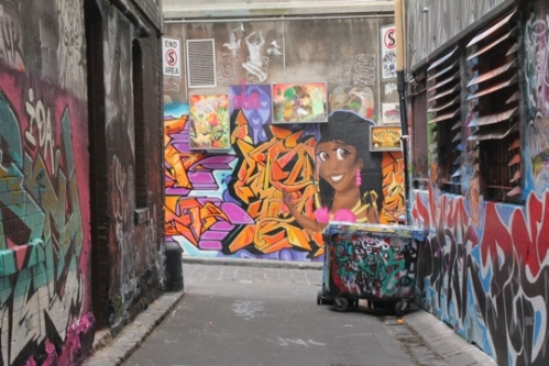 Looking from Rutledge Lane into Hosier Lane, Melbourne