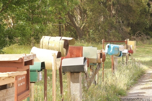 Postboxes line the road in the Aussie Countryside